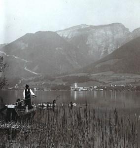 Austria Salzkammergut Schafberg Old Wurthle Stereo Photo 1900's
