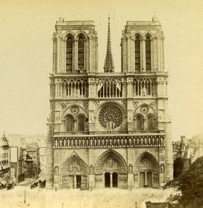 France Paris Church Notre Dame Old Stereo Photo 1875