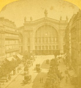 France Paris Gare du Nord Railway Station Old Stereo Photo 1875