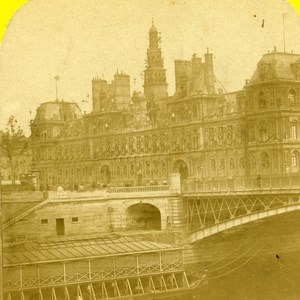 France Paris City Hall Old Marinier Stereo Photo 1875
