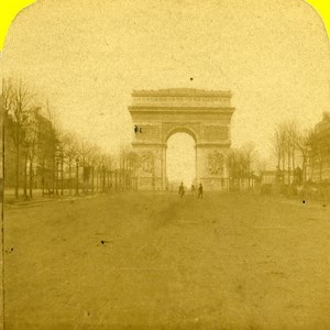 France Paris Photographer on the Champs Elysees Old Marinier Stereo Photo 1875
