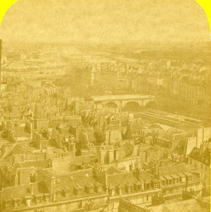 France Paris Panorama Old Marinier Stereo Photo 1875