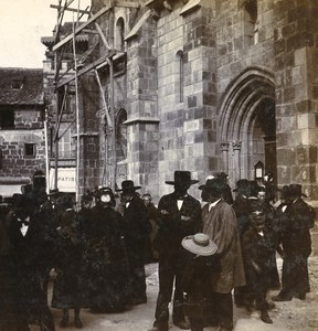 France Mauriac Auvergnats Release church Old Stereo Photo Stereoview 1900
