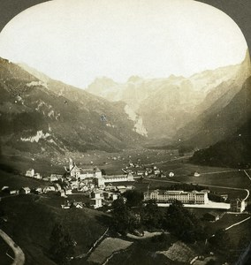Switzerland Valley of Engelberg Old Stereo Photo Stereoview William Rau 1900
