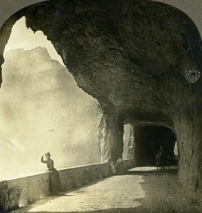 Switzerland Axenstrasse Gallery Old Stereo Photo Stereoview William Rau 1900