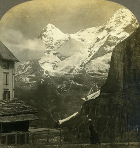 Switzerland Mittaghorn & Grosshorn from Murren Old Stereo Photo William Rau 1900