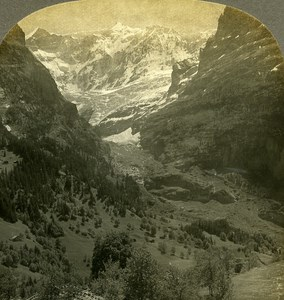 Switzerland Fiescherhorn from Valley Grindelwald Old Stereo Photo W Rau 1900