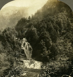 Switzerland Meiringen Reichenbach Falls Old Stereo Photo Stereoview W Rau 1900