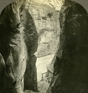 Switzerland Gorge of Aare Old Stereo Photo Stereoview William Rau 1900