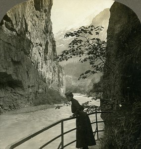 Switzerland Meiringen Gorge of the Aare Old Stereo Photo Stereoview W Rau 1900