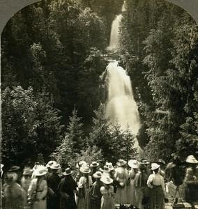 Switzerland Lake Brienz Giessbach Falls Old Stereo Photo Stereoview W Rau 1900