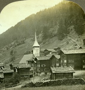Switzerland Alpine Village in Furka Pass Old Stereo Photo Stereoview W Rau 1900