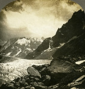 Switzerland Mer de Glace from Hotel Montanvert Old Stereo Photo William Rau 1900
