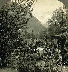 Switzerland Interlaken Gardens of Hotel Victoria Stereo Photo William Rau 1900