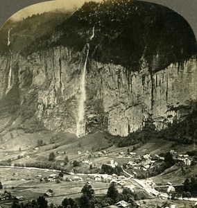 Switzerland Valley of the Lauterbrunnen Old Stereo Photo Stereoview W Rau 1900