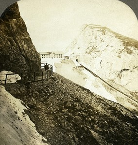 Switzerland Pilatus Kulm from Tomlinsiweg Old Stereo Photo William Rau 1900