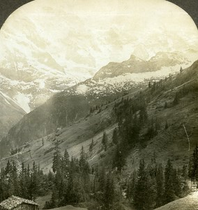 Switzerland Murren Valley of Lauterbrunnen Old Stereo Photo William Rau 1900
