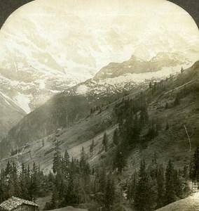 Switzerland Murren Valley of Lauterbrunnen Old Stereo Photo William Rau 1900