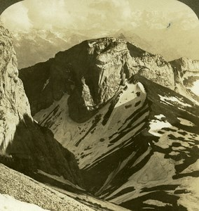 Switzerland Outlook of Pilate Ghost Mountain Wall Old Stereo Photo ASC 1900