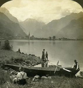 Switzerland Fluelen lake Lucerne Old Stereo Photo Stereoview ASC 1900