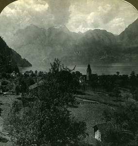 Switzerland Sisikon & Lake Lucerne Old Stereo Photo Stereoview ASC 1900