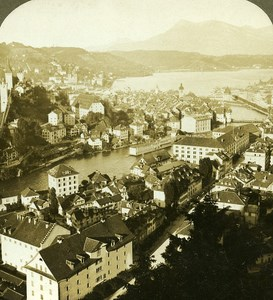 Switzerland Lucerne Panorama Old Stereo Photo Stereoview ASC 1900