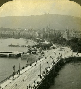 Switzerland Zurich Panorama Old Stereo Photo Stereoview ASC 1900