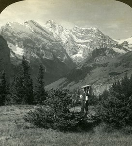 Switzerland Swiss Farmer Breithorn Alps Old Stereo Photo Stereoview ASC 1900