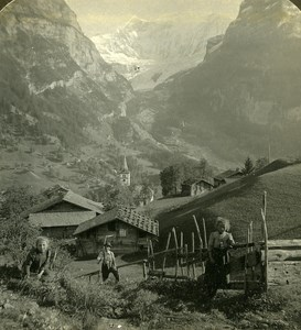 Switzerland Grindelwald happy Children Panorama Old Stereo Photo ASC 1900