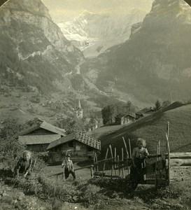 Switzerland Grindewald happy Children Panorama Old Stereo Photo ASC 1900