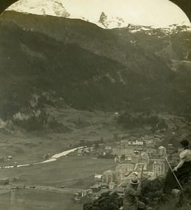 Switzerland Zermatt panorama Old Stereo Photo Stereoview ASC 1900