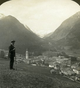 Switzerland Pontresina Panorama Old Stereo Photo Stereoview ASC 1900