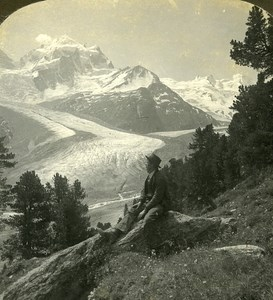 Switzerland Peaks of Roseg & Selia Glacier Old Stereo Photo Stereoview ASC 1900