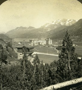 Switzerland Engadine Valley Maloja Health Resort Old Stereo Photo ASC 1900