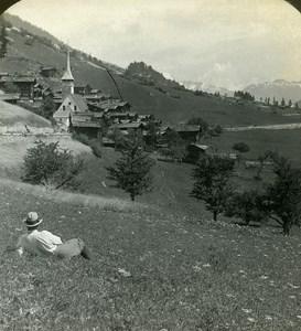Switzerland Niederwald Panorama Old Stereo Photo Stereoview ASC 1900