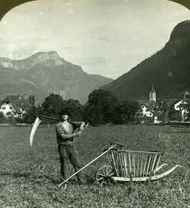 Switzerland Altdorf Farm Worker Old Stereo Photo Stereoview ASC 1900