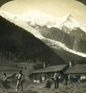 Switzerland Summer Scene in Valley of Chamonix Old Stereo Photo ASC 1900