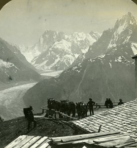 Switzerland Grandes Jorasses & Mer de Glace Old Stereo Photo Stereoview ASC 1900