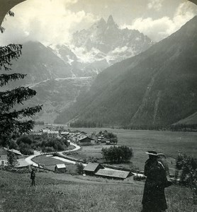 Switzerland Valley of Chamonix Panorama Old Stereo Photo Stereoview ASC 1900