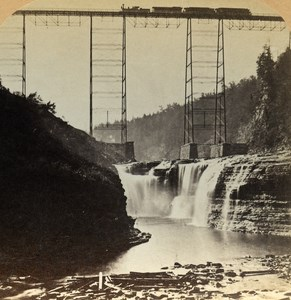 USA Bridge & Falls on the Line of the Erie Railway Old Stereo Photo 1900