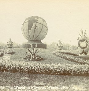 USA Chicago Washington Park World in Flowers Old Stereo Photo Stereoview 1900