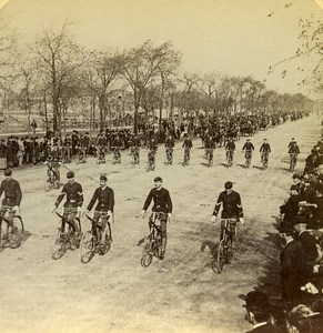 USA Chicago Bicycle Club Grand Boulevard Old Jarvis Stereo Photo Stereoview 1900