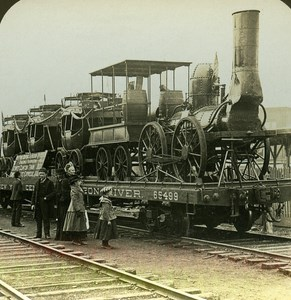 USA First Engine Train in America Old Stereo Photo Stereoview ASC RY Young 1900