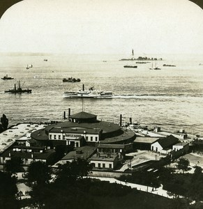 USA New York Harbor Panorama Old Stereo Photo Stereoview ASC RY Young 1900