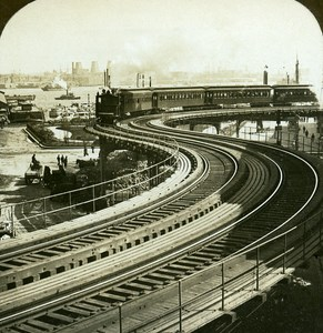 USA New York elevated railway Old Stereo Photo Stereoview ASC RY Young 1900
