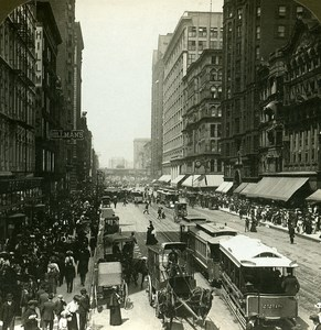 USA Chicago State Street north from Madison Old Stereo Photo HC White 1900