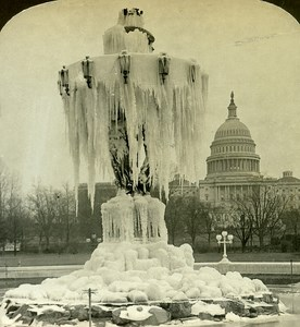 USA Washington Fountain & Capitol Old Stereo Photo Stereoview ASC RY Young 1900