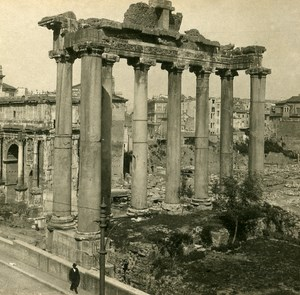 Italy Roma Temple of Saturne Old SIP Stereo Stereoview Photo 1900