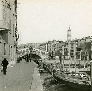 Italy Venezia Bridge Rialto Old SIP Stereo Stereoview Photo 1900