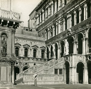 Italy Venezia Doge's Palace Giants Steps Old SIP Stereo Stereoview Photo 1900